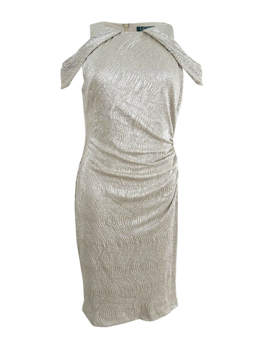 Lauren Ralph Lauren Woherren Metallic Cold Shoulder Dress