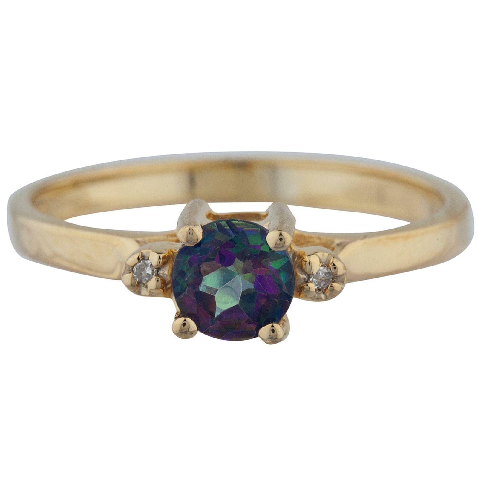 14Kt gold 0.50 Ct Natural Mystic Topaz & Diamond Round Ring