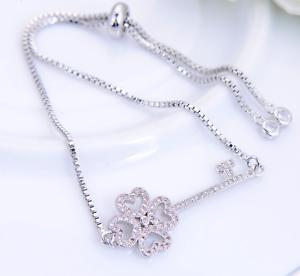 50% SALE Iced CZ Silver Love KEY Friendship New Home Bracelet Slider Box chain