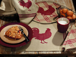 country-farmhouse-Red-Rooster-farm-Placemats-Table-Runners-Dish-Towels-Napkins