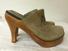 Tommy Hilfiger tan leather suede upper Slip On Clog  Heels Women Size 6.5 M