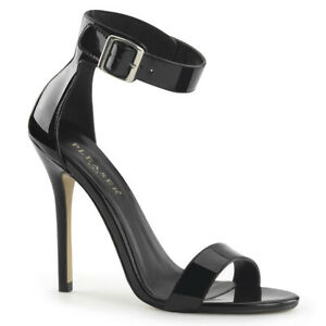 Pleaser-AMUSE-10-Women-039-s-Sexy-Black-Patent-Heel-Closed-Back-Buckled-Strap-Sandal