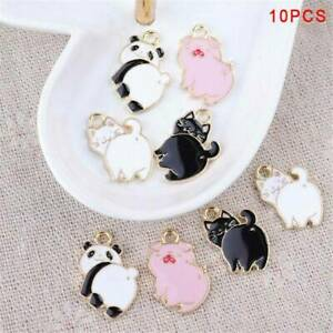10Pcs-Lot-Enamel-Alloy-Pig-Cat-Panda-Charms-Pendants-DIY-Jewelry-Findings-Craft