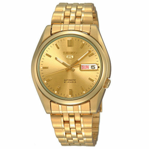 Seiko 5 SNK366 K1 Yellow Gold Dial Stainless Steel Men's Automatic Analog Watch