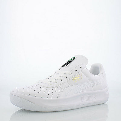 "Puma GV Special ""TRIPLE WHITE"" ""GOLD LETTERS"" Mens LEATHER Shoes 343569 42 NEW"