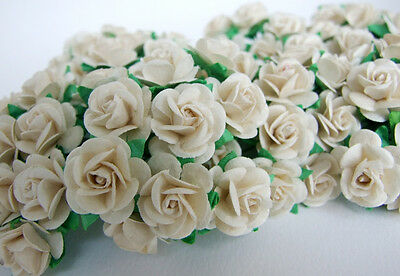 100 WHITE MULBERRY PAPER ROSE FLOWER ARTIFICIAL CRAFT SCRAPBOOK WEDDING MP-WH20