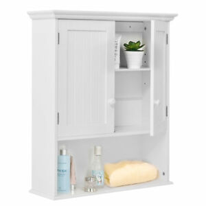 Image Is Loading Wall Mounted White Bathroom Medicine Towel Cabinet Vanity