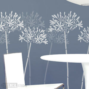 Agapanthus Flower Wall Stencil Home