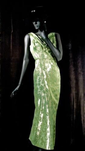 1940s 1950s 1960s Evening Gown Green Brocade and G