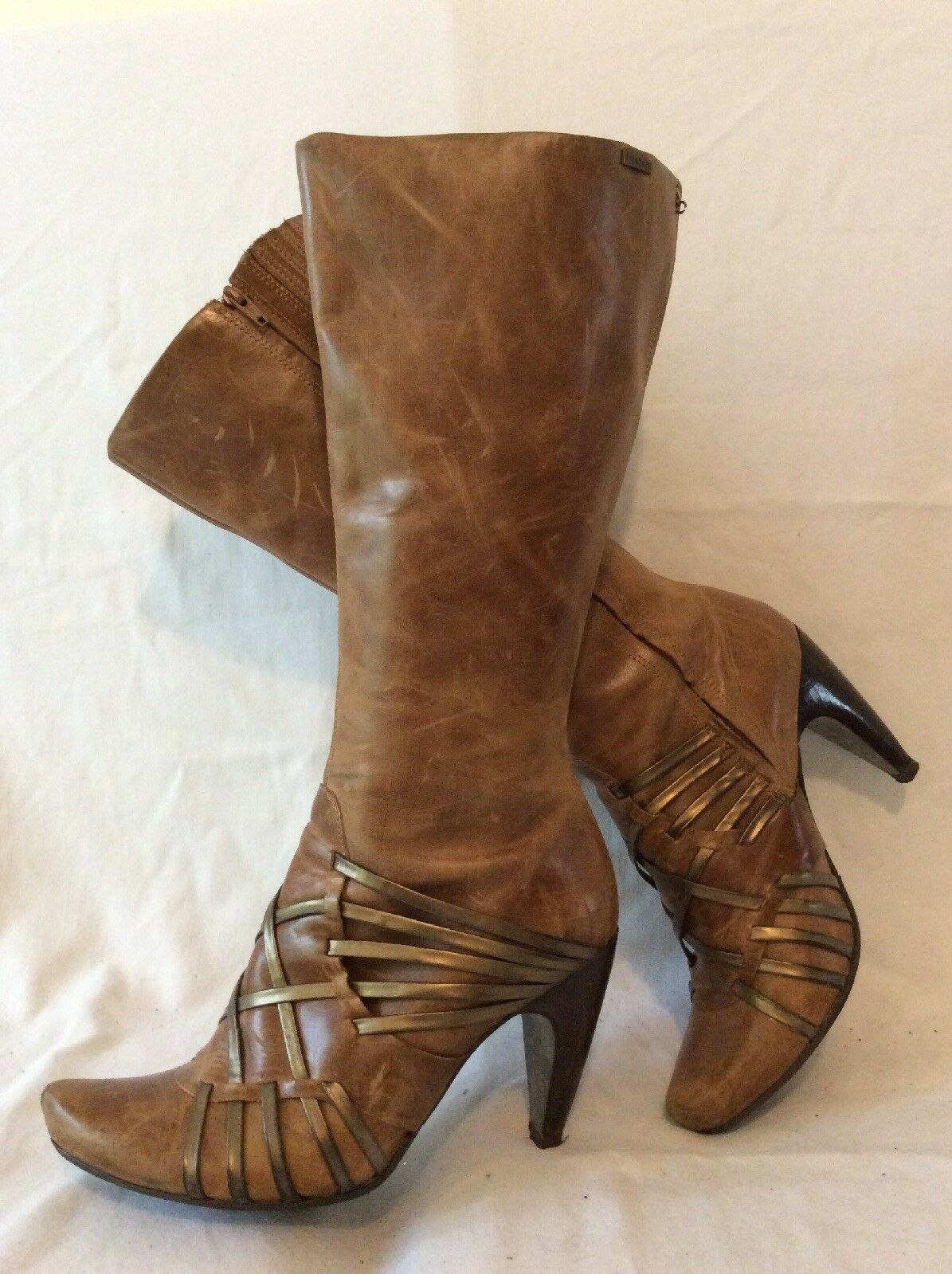 Firetrap Brown Knee High Leather Boots Size 4.5