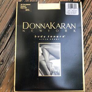 Vtg Donna Karen NY Body Toners Ultra Sheer Pantyhose Palomino M 253 Control Top