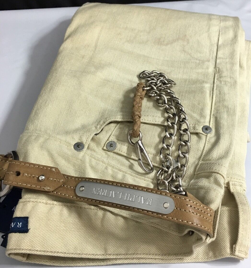 Polo Ralph Lauren Jeans Womens 26 Tan Removable Leather Key Chain  398