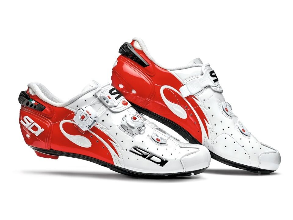 New Sidi Wire Carbon Cycling shoes, White Red, EU40-46.5