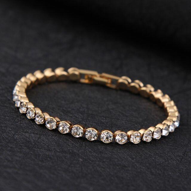 14k Gold Plated Made With Swarovski Crystals Tennis Bracelet Xmas Birthday Gift