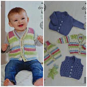 9bb10a9c897a Baby KNITTING PATTERN Baby Plain   Lacy Waistcoats   Cardigans DK ...