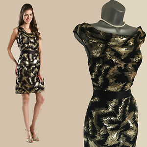 91315afe32f Image is loading MONSOON-Portia-Black-Gold-Sequin-Cocktail-Party-Shift-