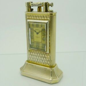 DUNHILL-Lighter-UNIQUE-TABLE-W-WATCH-Petrol-Table-Double-Wheel-2-3