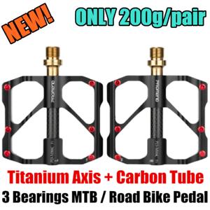 PROMEND-Carbon-Tube-Titanium-Bicycle-Flat-Pedal-MTB-Road-Bike-Pedal-3-Bearings
