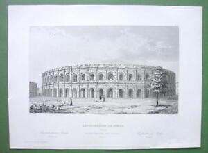 ARCHITECTURE-3-PRINTS-1850-France-Nimes-Roman-Amphitheatre