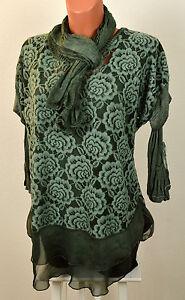 Edle-3tlg-Tunika-Shirt-Bluse-Unterkleid-Schal-Spitze-Blueten-in-Farben-38-40-42