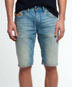 0500bf76 Image is loading New-Mens-Superdry-Officer-Denim-Shorts-Worn-Out-