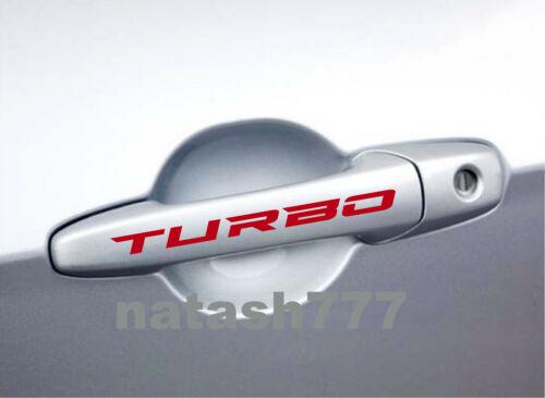 TURBO Door Handles Vinyl Decal Sticker Emblem logo Racing Car Truck SUV 2pcs