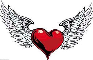 Love Luv Heart Angel Wings Heaven Flying Heart Sticker Decal Graphic Vinyl Label Ebay