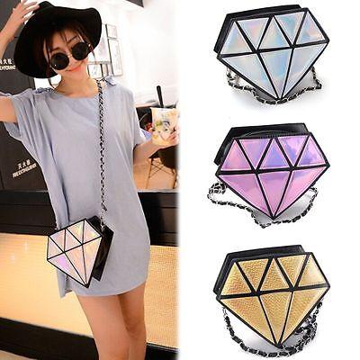 Hot Diamond Shaped Laser Jewel Radiation Fashion Cute Clutch Bag Lady PU Handbag