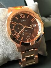 GUESS Mens Rose Gold Tone Stainless Steel Bracelet Chronograph Watch U0668G1 NWT