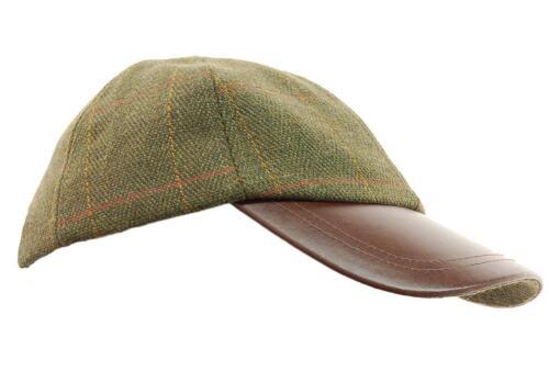 Leather Baseball Cap Hat Fishing//Hunting Walking 6C Deluxe Dark Derby Tweed