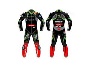 Kawasaki Mens Motorbike Leather Suit Motorcycle Racing CE Protection Armour Biker Suit Custom Made