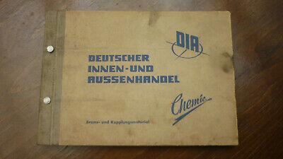 Altes Heft Dia Chemie Brems & Kupplungsmaterial Vvb Plasta 256 Seiten Oldtimer
