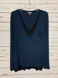 Bordeaux Anthropologie Women's S Small Navy Long Sleeve Spring Tunic Shirt Top
