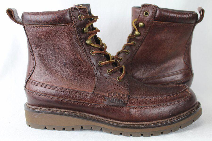 POLO Ralph Lauren willingcott botas De Cuero Marrón Oscuro Nuevo Con Etiquetas