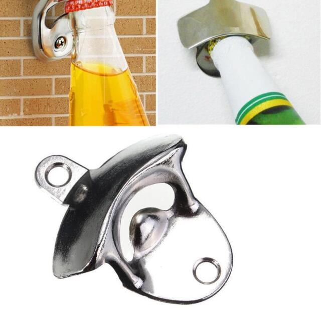 Stainless Steel Wall Mount Bar Beer Glass Cap Bottle Opener With Screws Jh  US