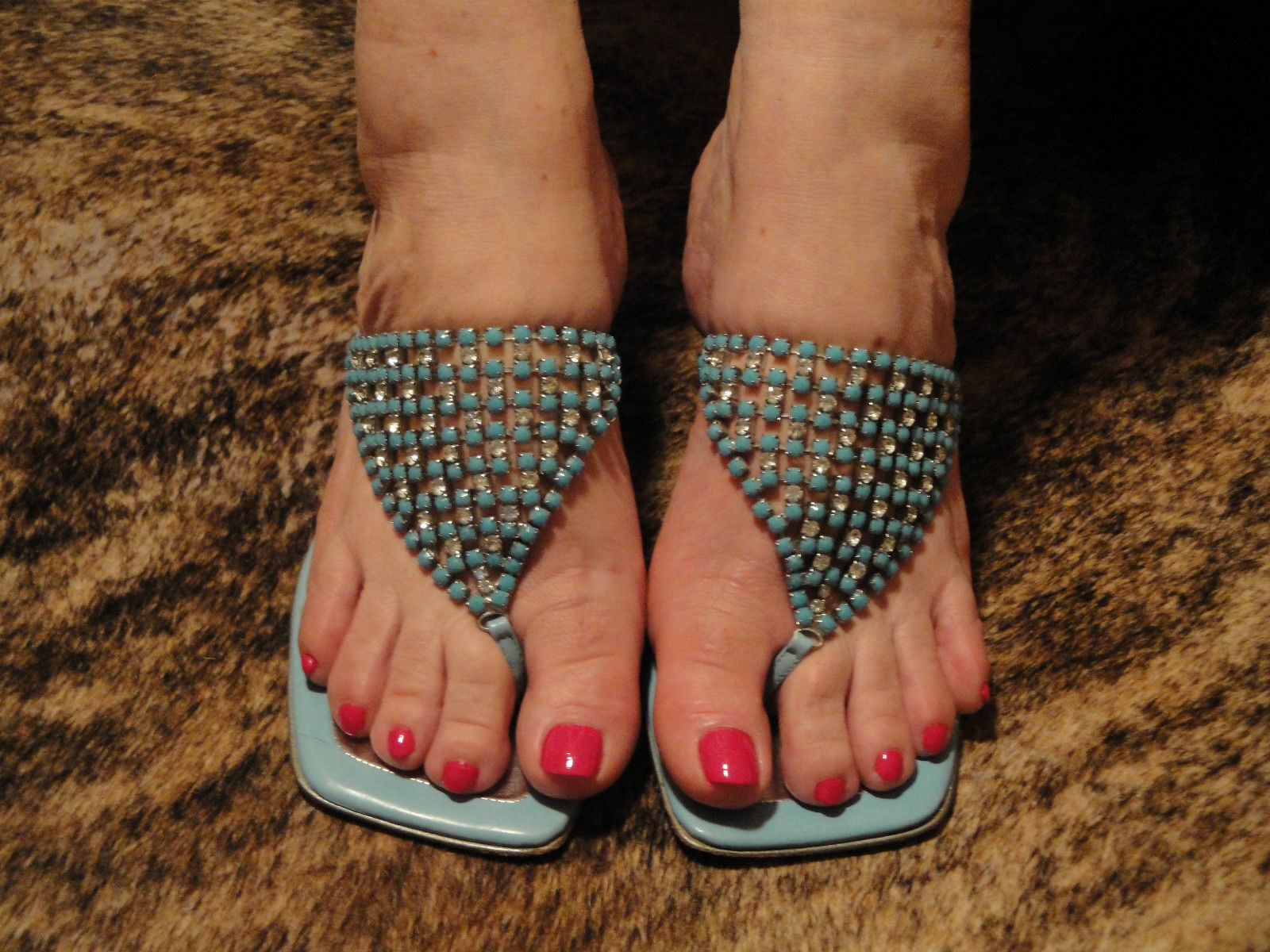 Bruno Magli Couture Silver and Turquoise Open Toe Sz Thongs Mules Heels  Sz Toe 5.5 f8f0f9