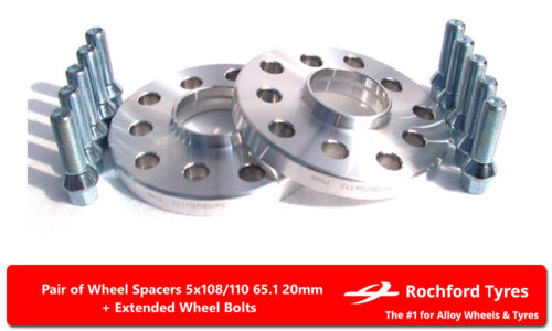 99-05 2 Wheel Spacers 20mm Spacer Kit 5x110 65.1 +Bolts For Opel Zafira A