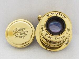 Leitz Elmar MTR f3,5/5cm Russian EXC! Gold M39 Lens to RF Leica II(D) FED Zorki