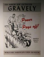 Gravely 1950 Model D One-wheel Lawn Garden Tractor Color Sales Manual 8pg 2.5 Hp