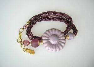 Murano-Glas-Millefiori-Armband-Blume-lila-violett-Murano-Original-UNIKAT
