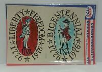 Liberty Freedom Usa Bicentennial Folk Art Style Waterslide Decals 1976 Vtg