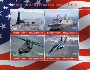 Madagascar-2018-CTO-American-Military-Warships-4v-M-S-Aviation-Ships-Stamps