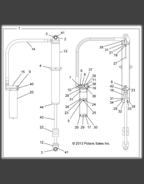 Bronco 62-04017 Atv Gas Shock Polaris Rear