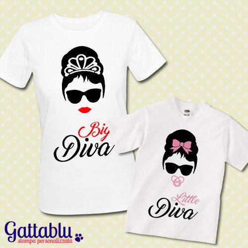 Audrey inspired T-shirt madre e bimba Big Diva e Little Diva mamma e figlia