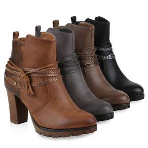 Details zu Warm Gefütterte Ankle Boots Damen Nieten Prints Stiefelette Absatz 812559 Schuhe
