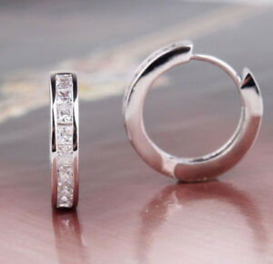 cebdd05c8 Image is loading SILVER-PLATED-CZ-SMALL-ROUND-HUGGIE-HOOP-EARRINGS-