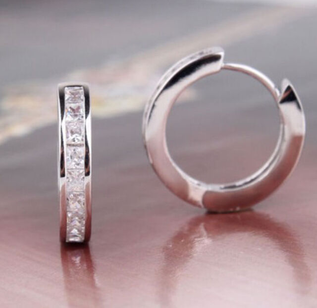 NEW BRAND STERLING SILVER PLATED CZ SMALL ROUND HUGGIE HOOP EARRINGS US TS