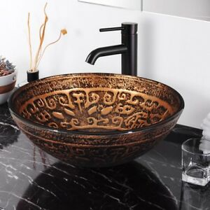 Image Is Loading Bathroom Tempered Glass Round Vessel Sink Antique Totem