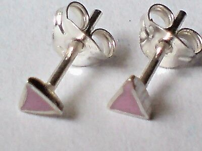 STUD EARRINGS only £6.50 NWT STERLING SILVER /& ABALONE TRIANGULAR SMALL 3mm
