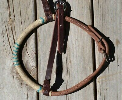 Jose Ortiz Rolled HL Western Training Caveson Full Nat//Turquoise Rawhide Nose